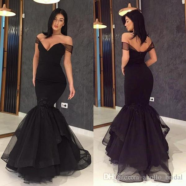da3a6e1381bc 2019 Black Evening Dresses Mermaid Off Shoulder Sweep Train Prom Dresses  With Tiered Tulle Formal Party Gowns Cheap Plus Size Evening Dresses Classy  Evening ...