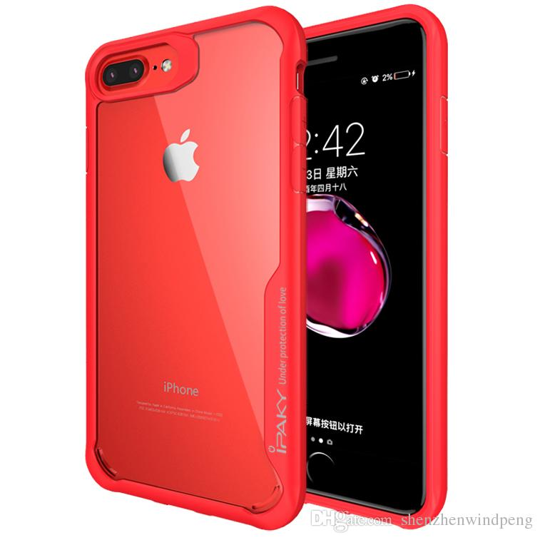 For iPhone 6 7 8 Plus Transparent Case iPaky Acrylic Clear Armor Drop-proof  Airbag Back Cover PC TPU Cases With Retail Package In Stock