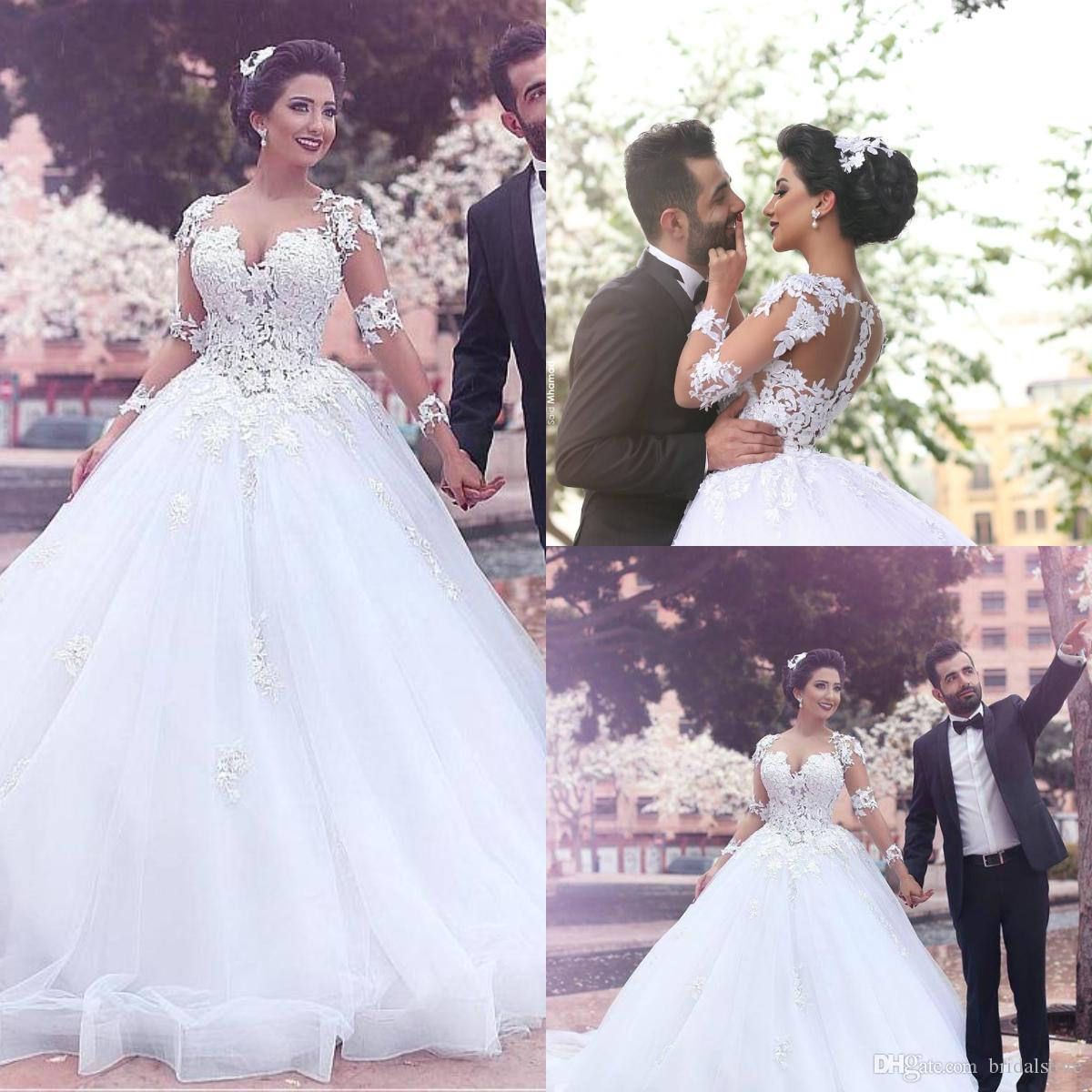 Classical White Princess Ball Gown Wedding Dresses With Sleeve Lace Floral Affordable Organza Saudi Arabic Bridal Gowns Vintage Puffy Bride: Black Ball Gown Princess Wedding Dresses At Reisefeber.org