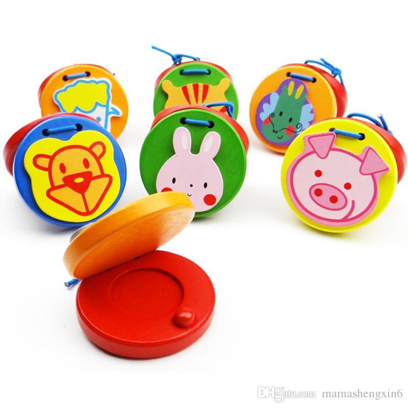 New Baby Colorful Cartoon Wooden Sound Board Percussion Instruments Animal  Wooden Educational Toys Castanets Music Perception Toys