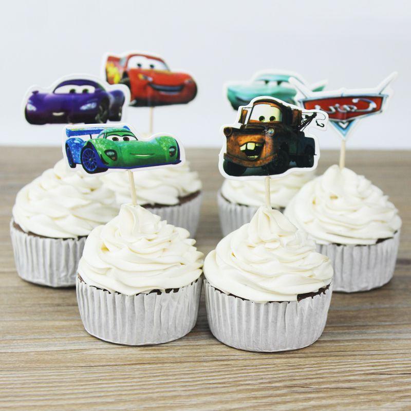 Cars toppers selecciones cupcake topper baby shower suministros niño fiesta de cumpleaños fiesta de cumpleaños para hornear pastel decoración del partido