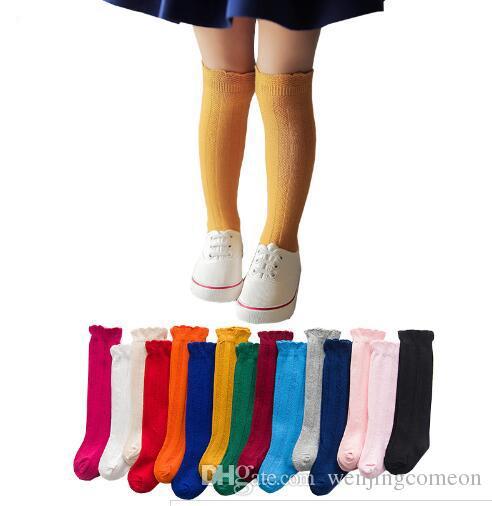 495240d9eab New Spring Summer Baby Girls Cotton Knee High Socks Solid Candy Color Kids  Toddler Double Needle Short Socks For Children Top Sock Brands Free Socks  From ...