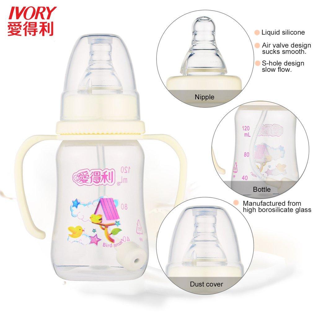 Garrafa de alimentação plástica do bebê dos PP do MARFIM com palha / punho garrafas de bebê padrão do pescoço Garrafa automática do bocal da palha de 360 graus quente
