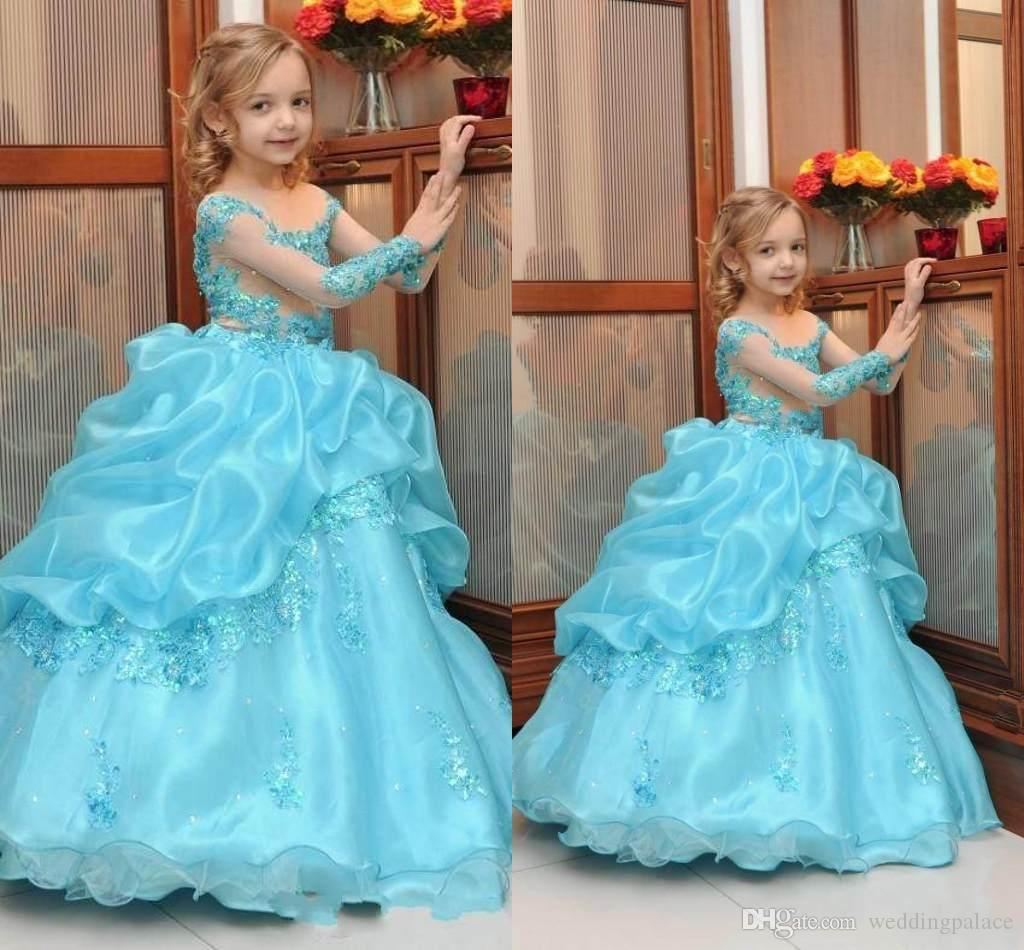 2018 Blue Lace Arabic Floral Flower Girl Dresses Organza Ball Gown ...