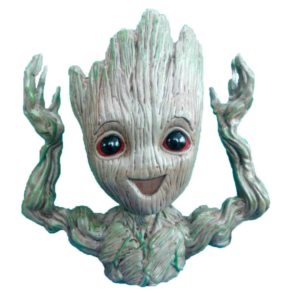 2019 Newest 16cm Cute Hands Up Baby Groot Flowerpot Pen Pot Planter
