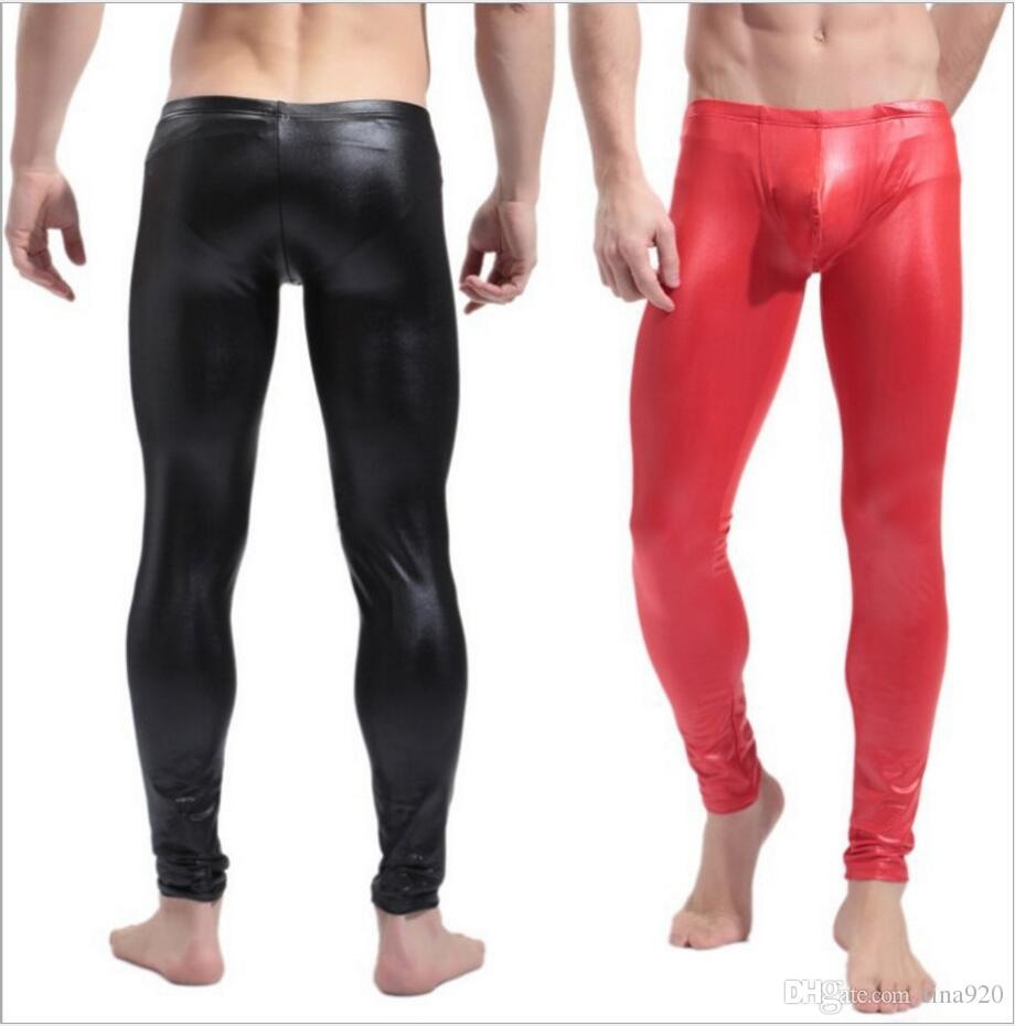 3f3e8181810e4e 2019 Fashion Mens Black Faux Leather Pants Long Trousers Sexy And Novelty  Skinny Muscle Tights Mens Leggings Slim Fit Tight Men Pant M 2XL From  Tina920, ...