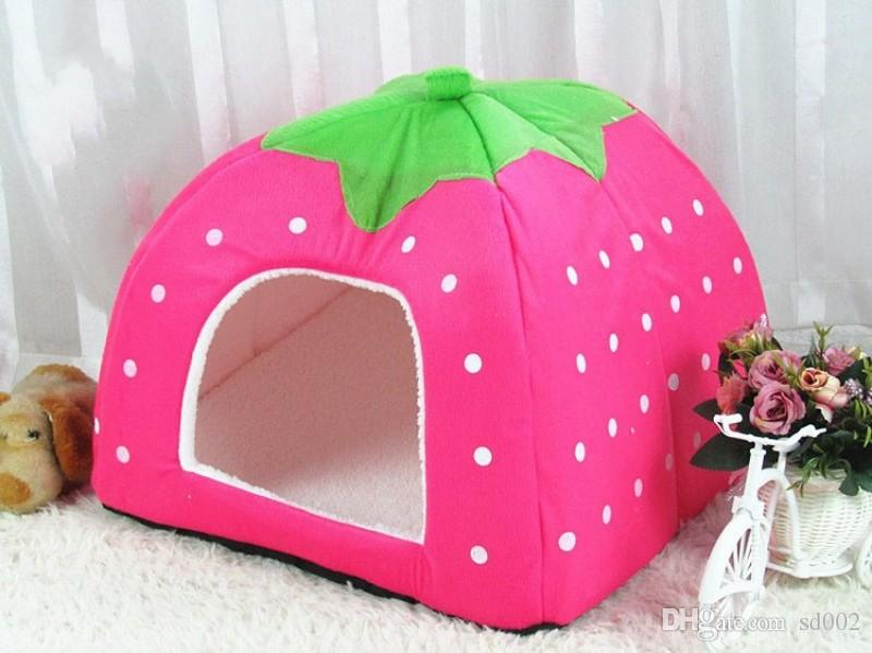 Classic Dog Houses Round Dot Pattern Non Slip Bottom Design Pet Strawberry Kennel Safety Comfortable Foldable Kennels Durable 39yx5 B