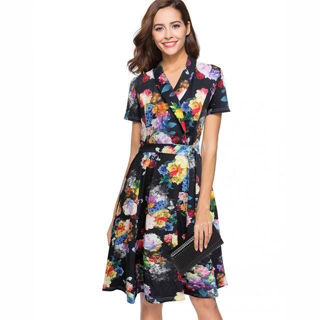 c3769c1b391 Women Summer Floral Dress 2018 50s Vintage Casual Elegant Print Party Work Office  Dress Retro Rockabilly Swing Vestido Sweater Dresses Lace Dresses From ...