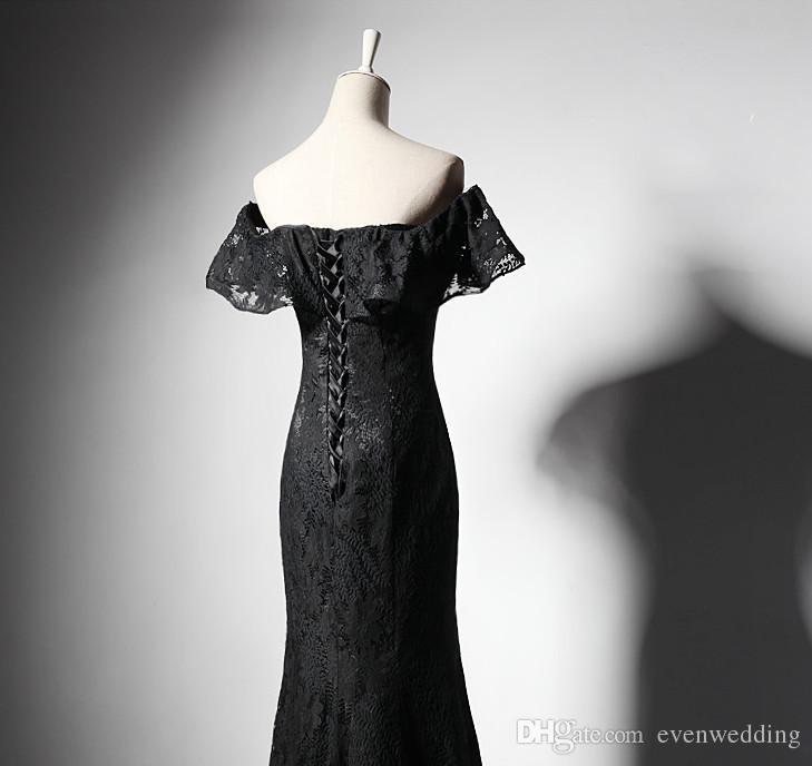 Dantel Mermaid Abiye Ruffled Kollu Siyah Kapalı Omuz Parti Elbiseler ile Yeni Uzun Balo Abiye