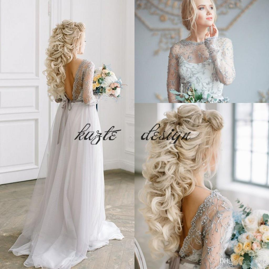 9bdc14699a Discount Light Grey Bohoemian Beach Wedding Dresses With Long Sleeve 2018  Modest Lace Beaded Jewel Neck Low Back Fairy Country Garden Wedding Gown  Cream ...