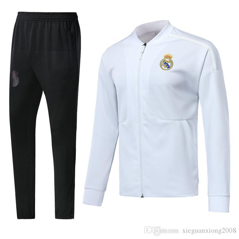 Compre Chaqueta De Fútbol De Calidad Superior Real Madrid 2018 2019  Uniforme 1819 Azul Real Madrid Chaqueta De Manga Larga Chaqueta De  Entrenamiento ... c6c232459ec94
