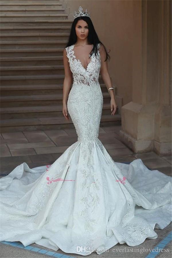 Ilusión en v cuello organza tren largo sexy abierto espalda sirena vestido de novia robe de mariee princesse de luxe