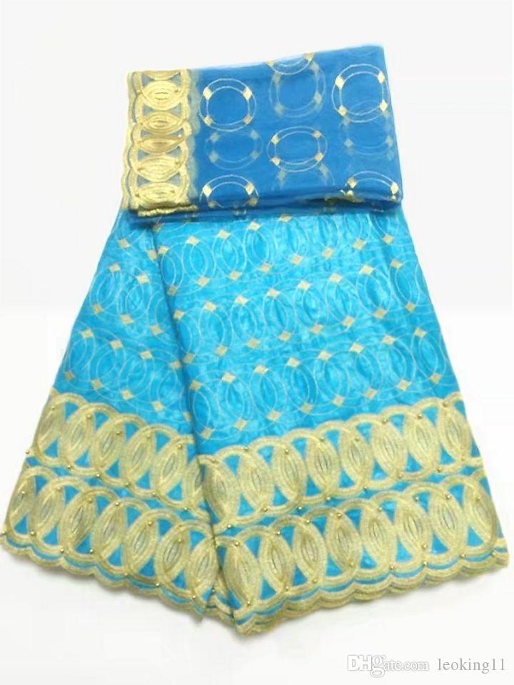 5y красивый лимонно-зеленый африканский Базен парча кружевной ткани и 2Y французский чистый кружева вышивка бисером для платья BZ1-1