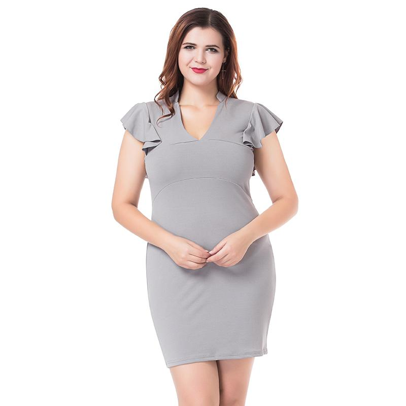 d092767d39 2019 Plus Size Women Dress Sexy V Neck Ruffle Sleeveless Mini Dress Ladies  Solid Package Hip Elastic Slim Pencil Dresses 4XL Vestidos From Duanhu