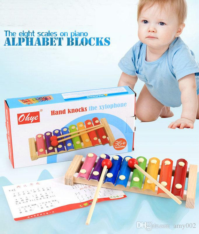 hand knocks serinette Eight piano the xylophone the eight scales on piano digital alphabet blocks Children's baby toy piano gift