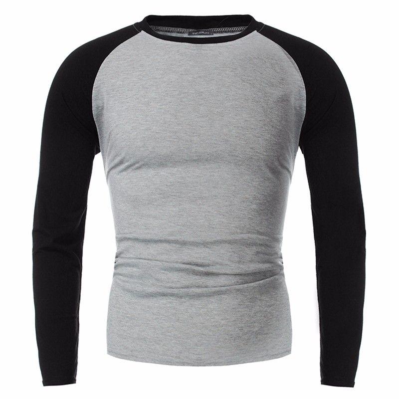 INCERUN 2018 New Plus Size Tshirts Cotton Men Long Sleeve Raglan Tee Casual Tops T-shirts Crew neck Mens Slim Fit Tshirt S-4XL
