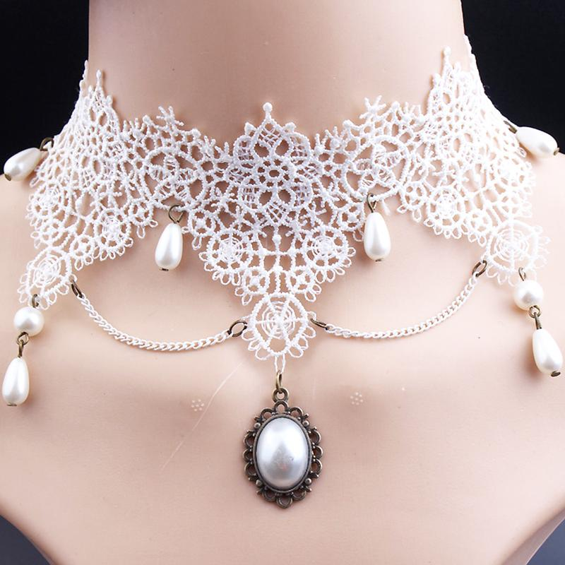 2019 Whole SaleRscvonM White Lace Choker Necklaces Hollow Out Bud Silk Beam  Necklace For Women Jewelry C272 From Htiancai e5860c251185