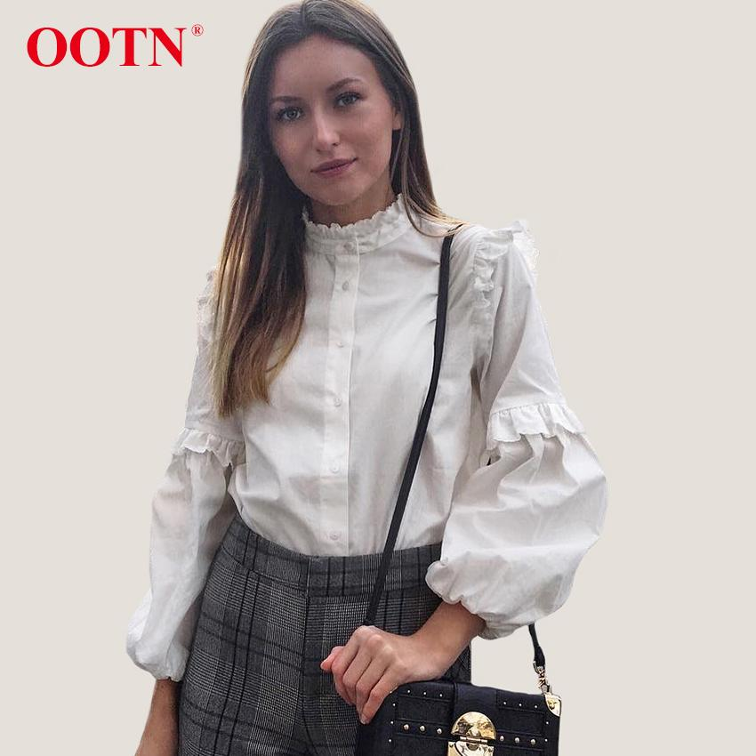 022050db801051 2019 OOTN Frill White Blouse Women Long Sleeve Tunic Shirts Tops Female  2018 Summer Spring Casual Tops Ladies Ruffles Chemise Femme From Yujiu