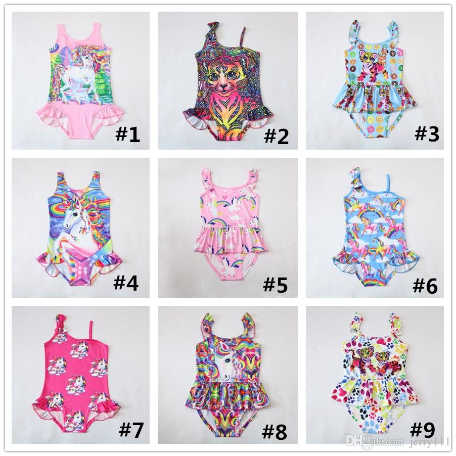 da1c9bbf41 2019 INS Unicorn Swimwear One Piece Tiger Swimsuit Bikini Big Kids Summer  Cartoon Infant Swim Bathing Suits Beachwear 12 Design LC738 From Jerry111