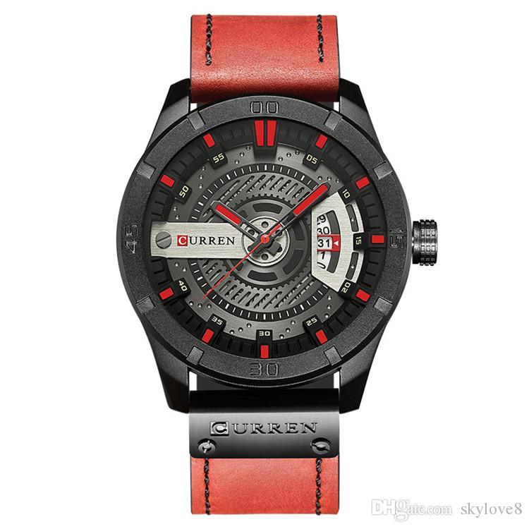 New Model CURREN8301 Mens Watches Brand Luxury Clock Male Leather Strap three Dial Military Waterproof Wristwatch Men Quartz Thin Watch