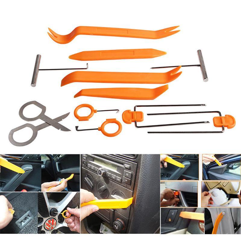 12pcs/Set Automobile Plastic Car Door Clip Panel Trim Dash Radio Audio  Removal Installer Pry Repair Rocker Kit Diagnostic Tools