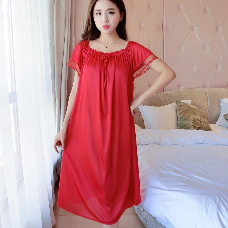 c01f678adfb Women Red Lace Sexy Nightdress Girls Plus Size Large Size Silk Satin Night  Gown Nightwear Sleepwear Nightgown Night Dress Summer Nightdress Girls  Sleepwear ...