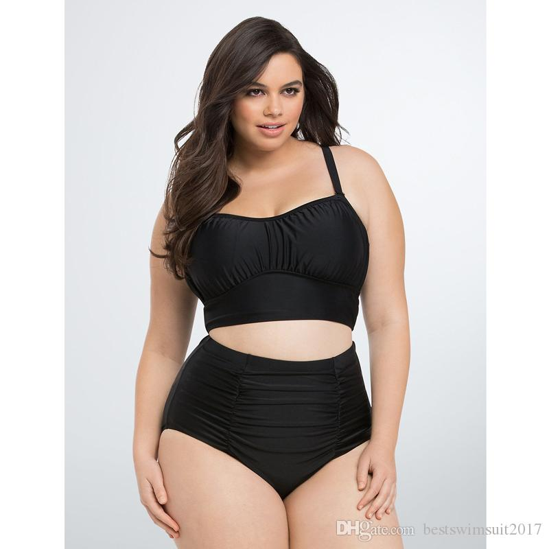 a5f860606ae 2019 Plus Size Swimwear 2018 Hot Sexy Black Bikinis Push Up Padded Swimming  Suit For Women High Waist Swimsuit Lady Cheap Bathing Suit Swim Wear From  ...