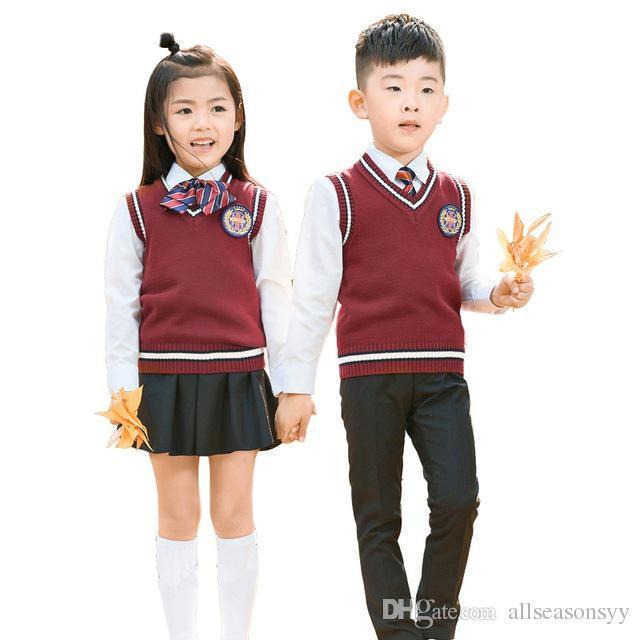 a7acce78eb8eb Compre Traje Formal Para Niños Chicas Florales Niños Uniformes Escolares  Conjunto Camisa + Suéter + Pantalón Falda Tutú + Conjunto De Corbatín Traje  De ...