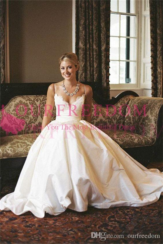 Discount Simple 2018 Gorgeous A Line Wedding Dresses Spaghetti Straps Lace  Taffeta Empire Waist A Line Chic Rustic Bridal Gown Custom Made Black  Wedding ... 3f389d78a60c