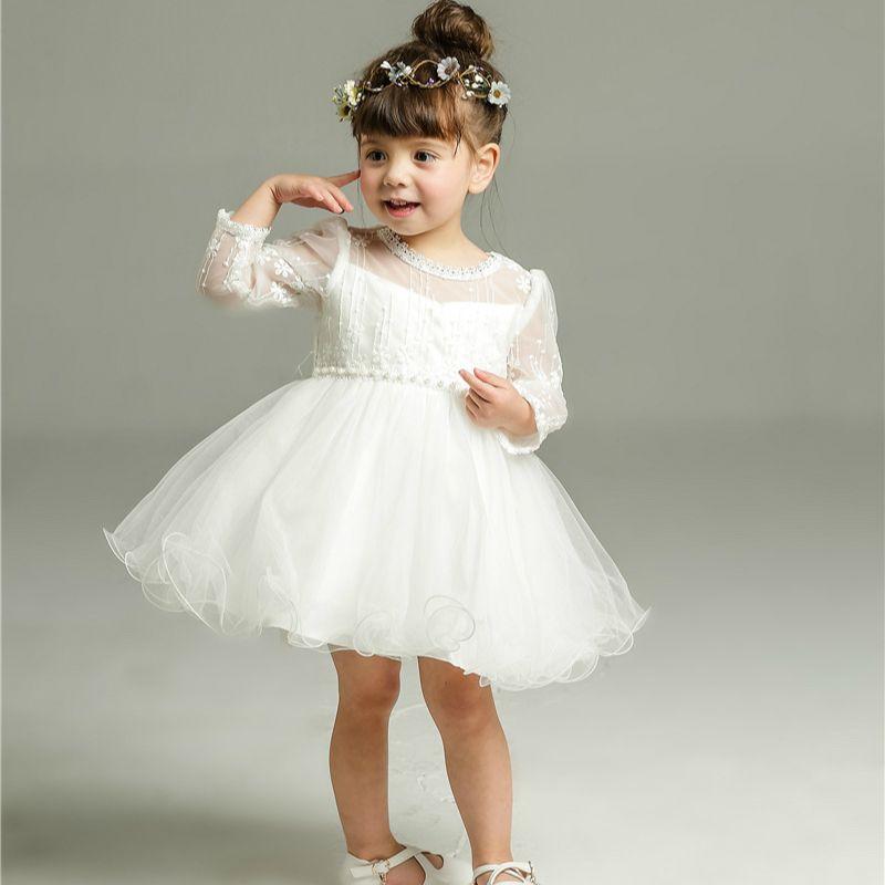 2018 White Baby Long Sleeve Birthday Wedding Dress Toddler Girl ...