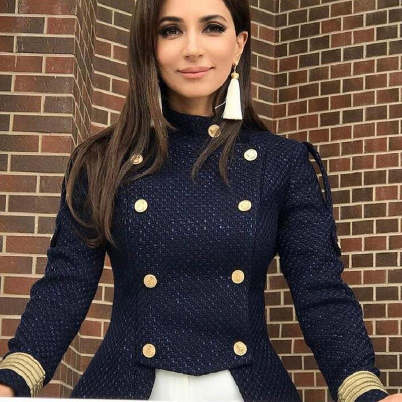 bb6e8c31b07c 2018 Runway Designer Formal Jacket Women Winter Coat Long Sleeve Gold  Button Doubles Breasted Lady Slim Outerwear Tunic Clothes Jackets Winter  Coats From ...