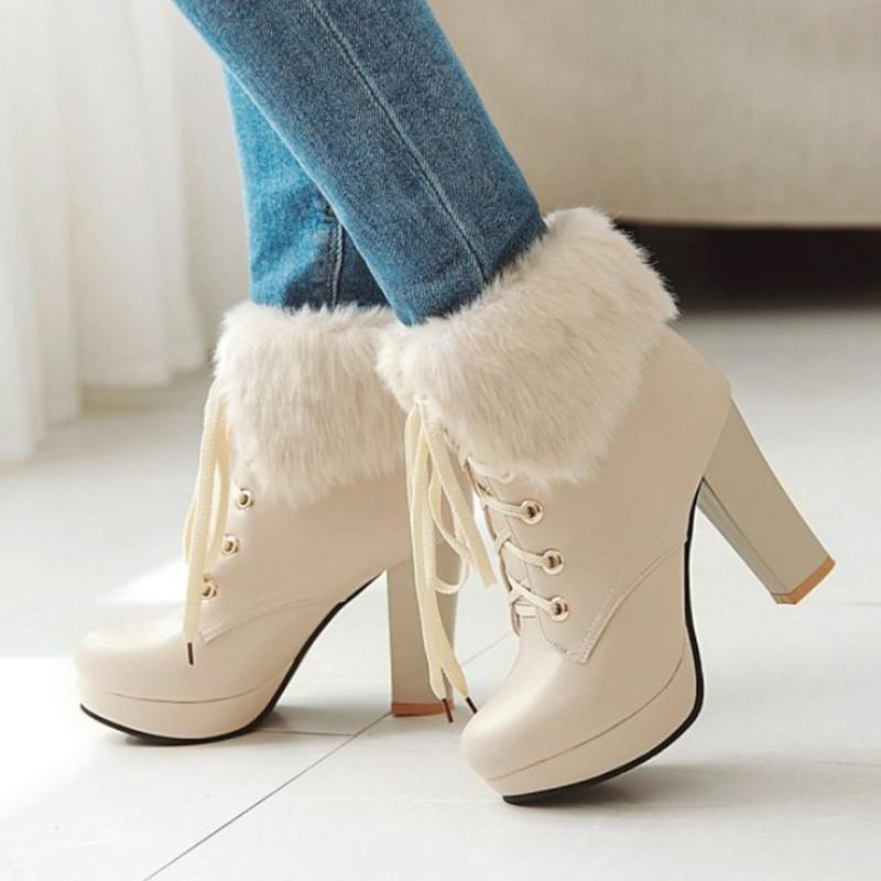 80229f8db76 Plus size ankle boots for women high heels with fur platform shoes jpg  800x800 Fur platform