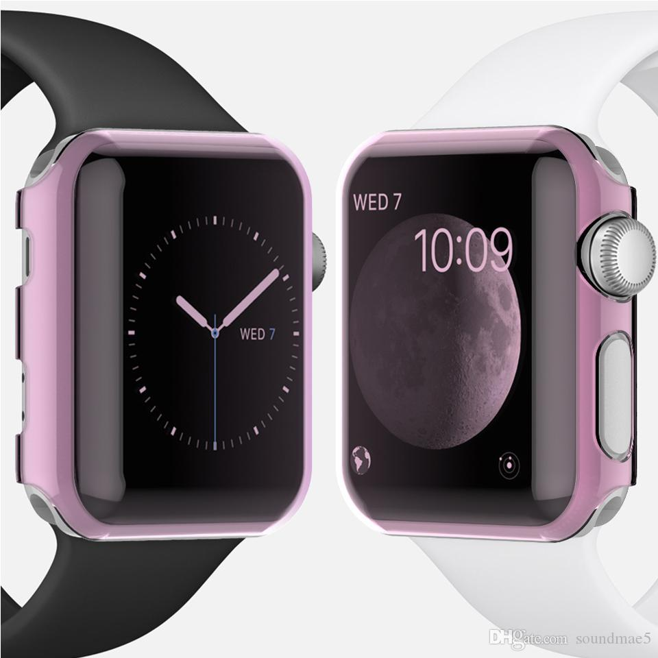 the latest c3b8b 6e922 For Apple Watch Series 1 2 3 TPU Bumper Clear Transparent Soft TPU PC 38MM  42MM Shell Protective Case Cover