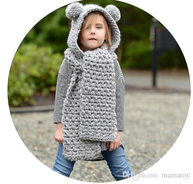 2019 Kids Knitted Hats Scarf Sets Children Crochet Caps Warm Hadmade