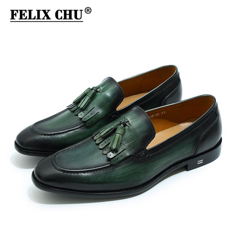 FELIX CHU herren loafer leder schwarz grün casual kleid