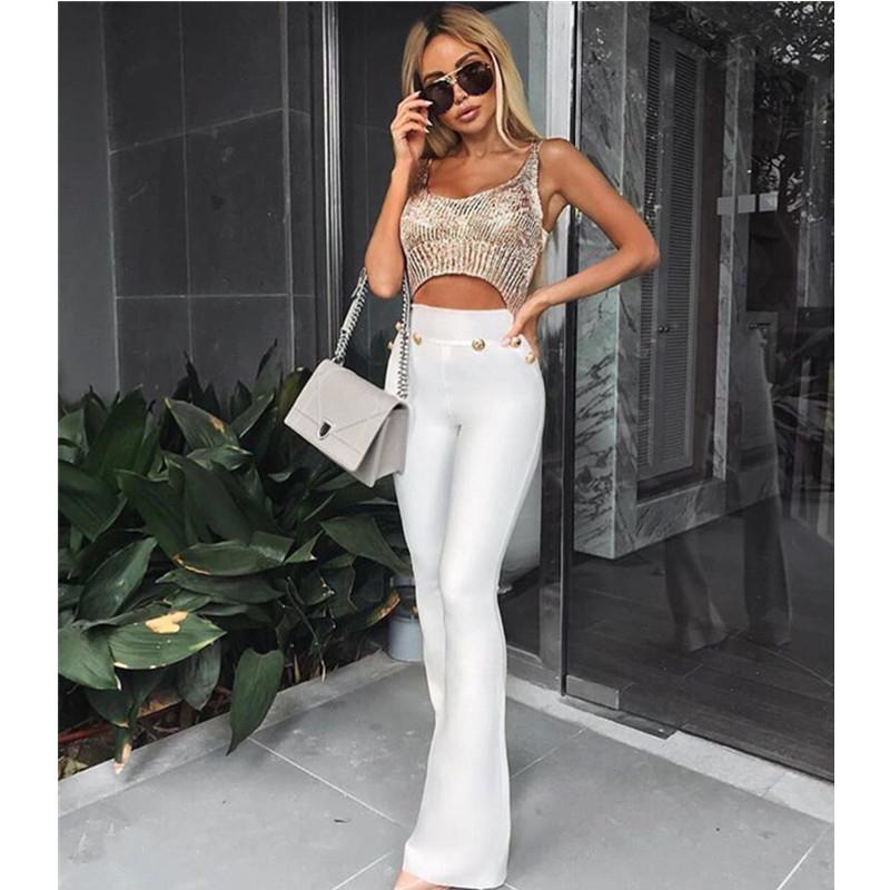 a082a84832d45 2019 Sexy Style Black Red White Flare Pants Ladies Full Long Women Pants  Buttons High Waist Bodycon Bandage From Stripe