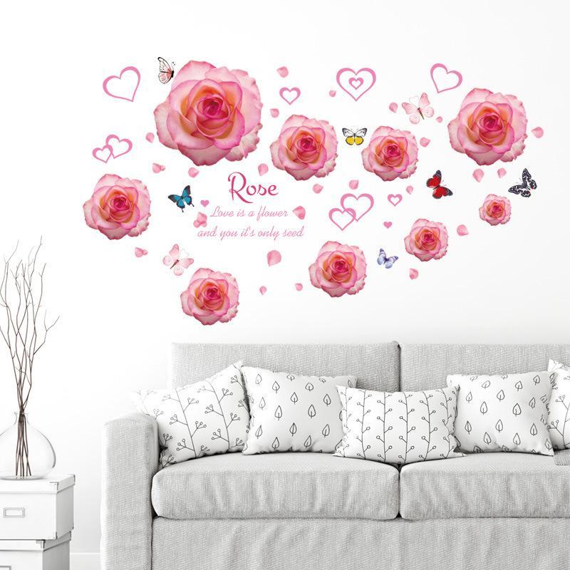 Satın Al Romantik Pembe Aşk Kalp Gül çiçek Kelebek Duvar Sticker Kız
