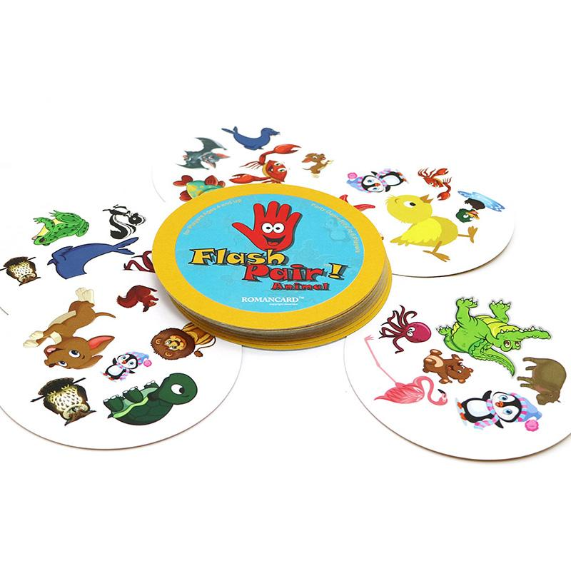 2018 new board game flash pair spot it animals family play for kids children gift for friends card games