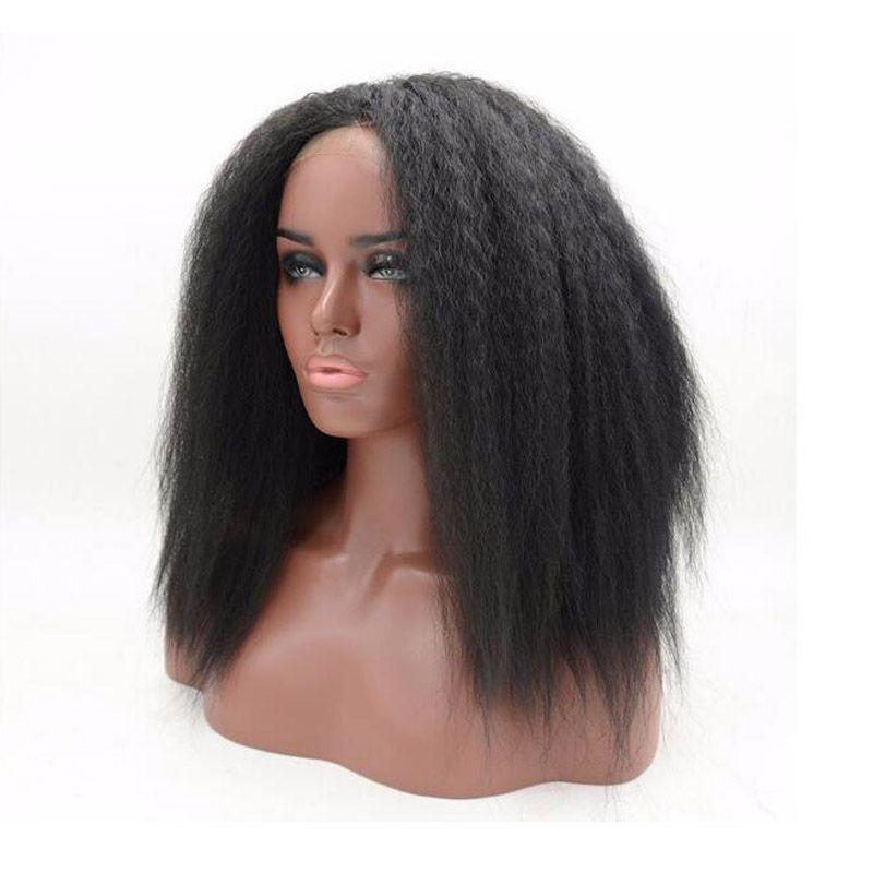 Court Kinky Droite Perruque Avant Dentelle Synthétique Naturel Noir Colle Sans Yaki Perruque Synthétique Suisse Dentelle Résistant À La Chaleur Perruques pour Afro Américain