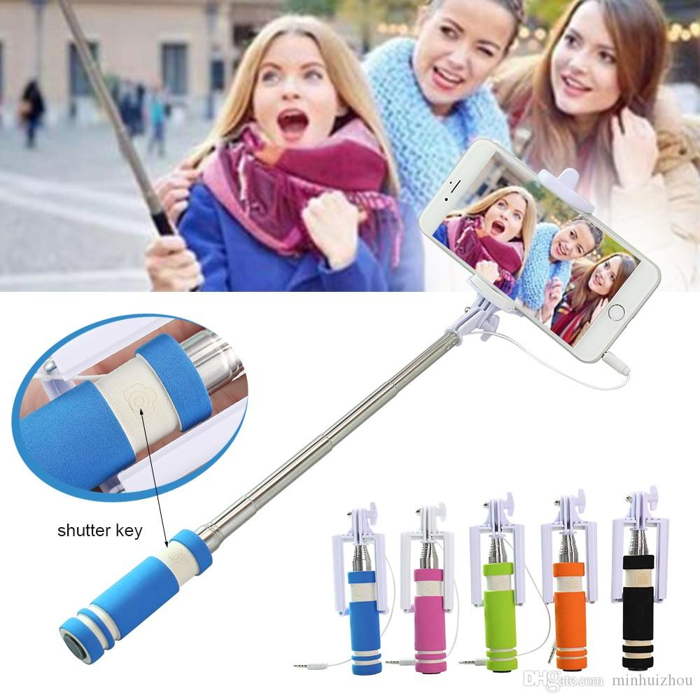 Mini Wired Selfie Stick Universal Extendable Handheld Mini Pocket Self-portrait Monopod with Adjustable Holder free-Charge for Cellphone