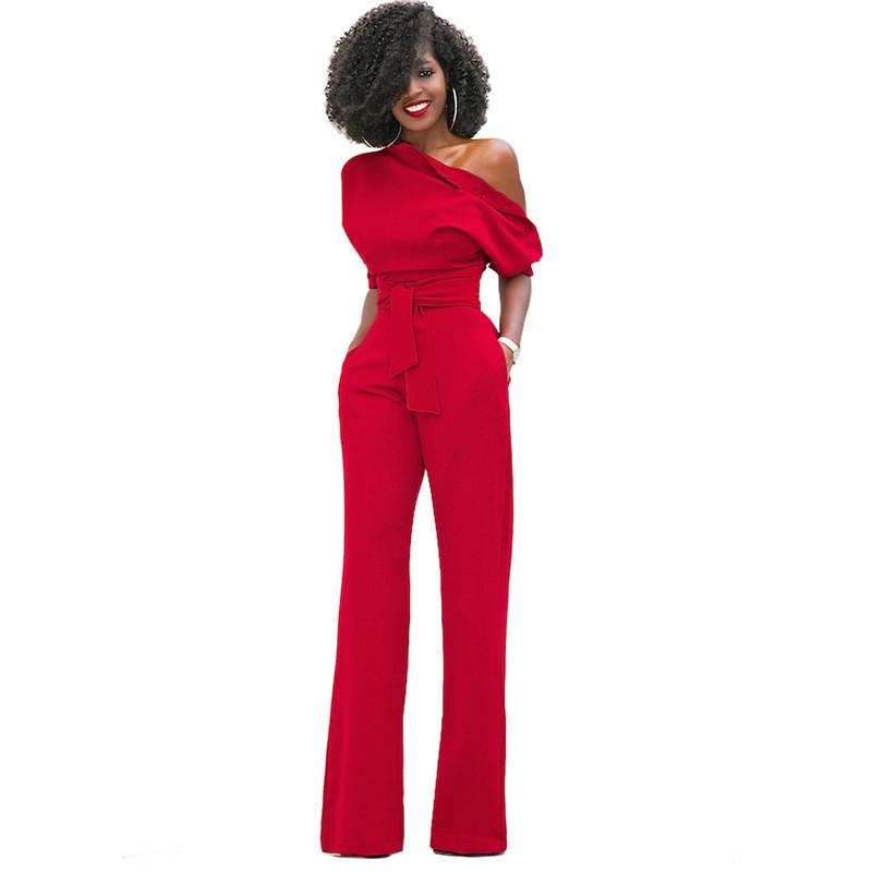 3adabd6d6d8 2019 New Fashion Sexy Off Shoulder Jumpsuit Women Long Wide Leg Bodycon Rompers  Womens Jumpsuit EleBodysuit Short Sleeve Overall From Fangfen