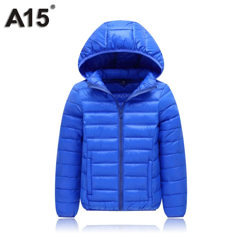 A15 Kids Winter Jacket for Girl Down Coat Children Boys Light Warm Hooded Big Teens Parka Clothes Outerwear Age 10 12 14 16 Year