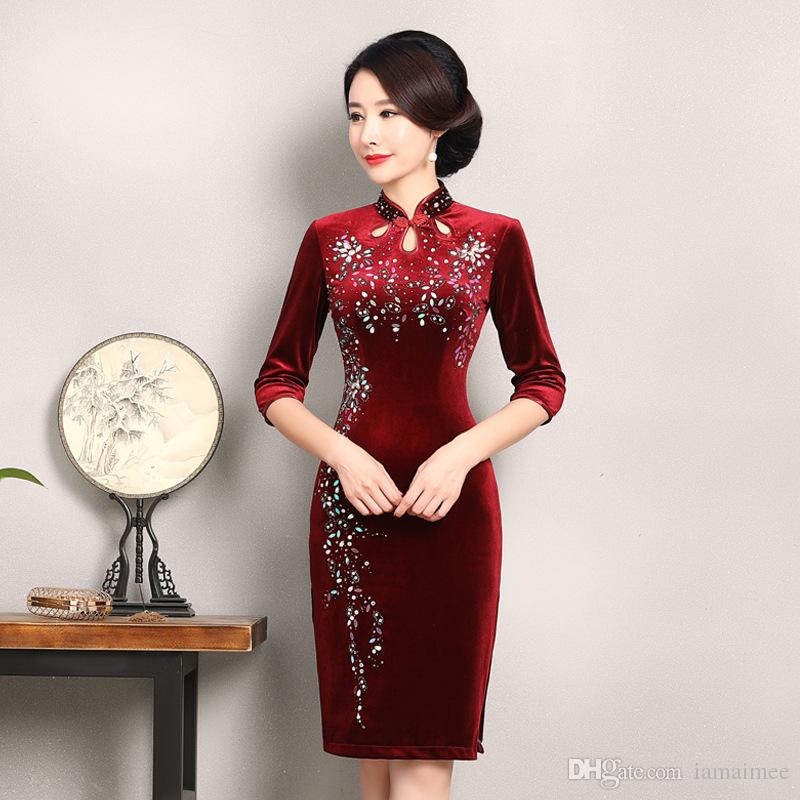 e37a18c827a New Classic High Quality Plus Size Half Sleeve Velvet Beading Wine Red Blue Green  Cheongsam Medium Length Daily Qipao Chinese Dress Prom Dresses Under 100 ...