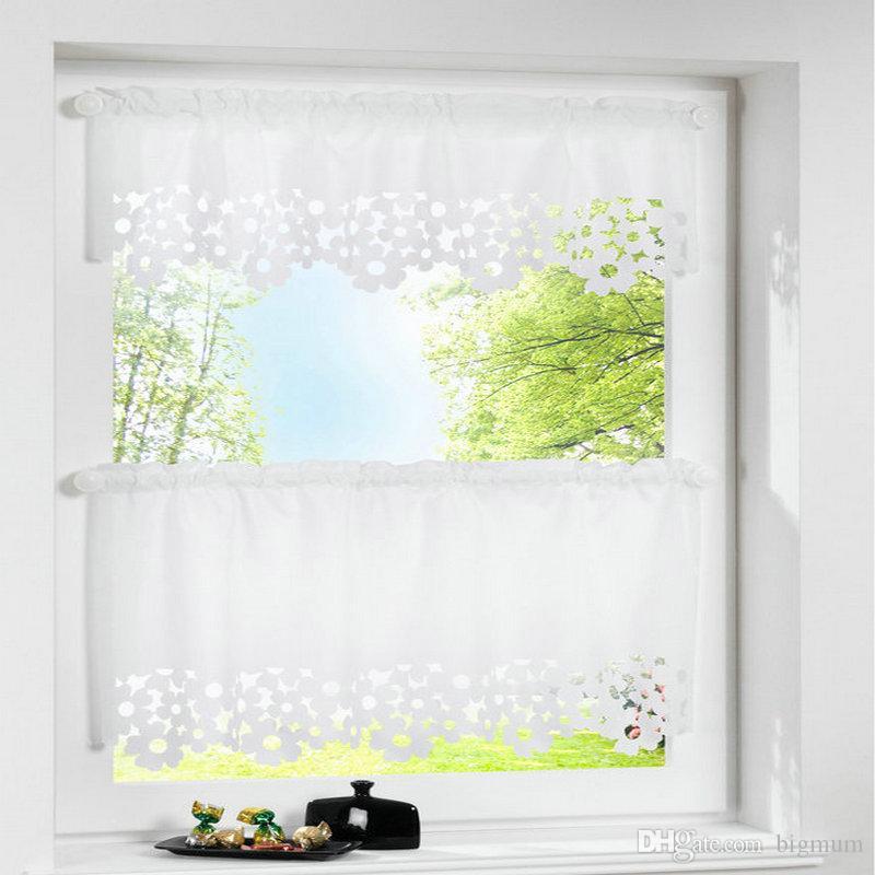 Grosshandel 1 Stuck Rustikale Halbe Fenster Valance Vorhang Blume