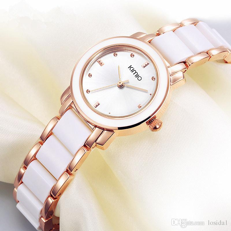 bb9437dd7f96 2019 Hot Sale Wristwatch New Kimio Ladies Imitation Ceramic Watch Fashion  Rose Gold Bracelet Watches With Fine Alloy Strap Women Dress Watch Best ...