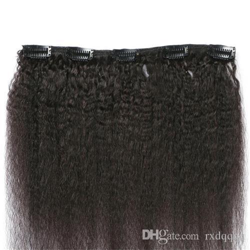 Coarse Yaki Kinky Straight Clip In Hair Extension Brazilian Remy Hair Coarse Yaki Clip Ins Natural color 120G