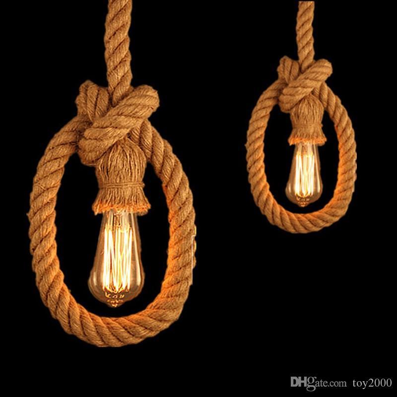 Rétro Vintage Corde Pendentif Lumière Lampe Loft Créativité Personnalité Industrielle Lampe Edison Ampoule Style Américain Pour Le Salon