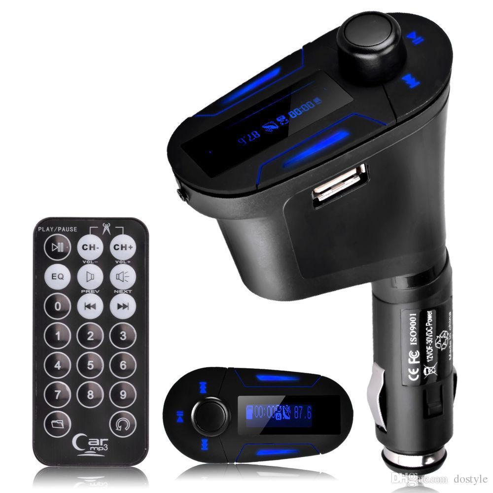 SıCAK Satış 3.5mm Ses Mavi LCD Araç Kiti Araba MP3 müzik Çalar Uzaktan Kablosuz FM Verici Modülatör Oto Radyo + USB SD MMC