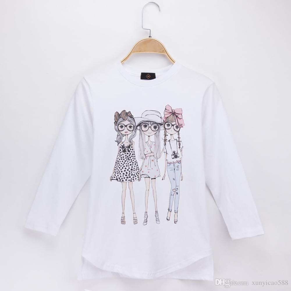 9e3fc275a7f2 2019 2018 Kids Clothes Girls T Shirt Fashion Girl Print Full High ...