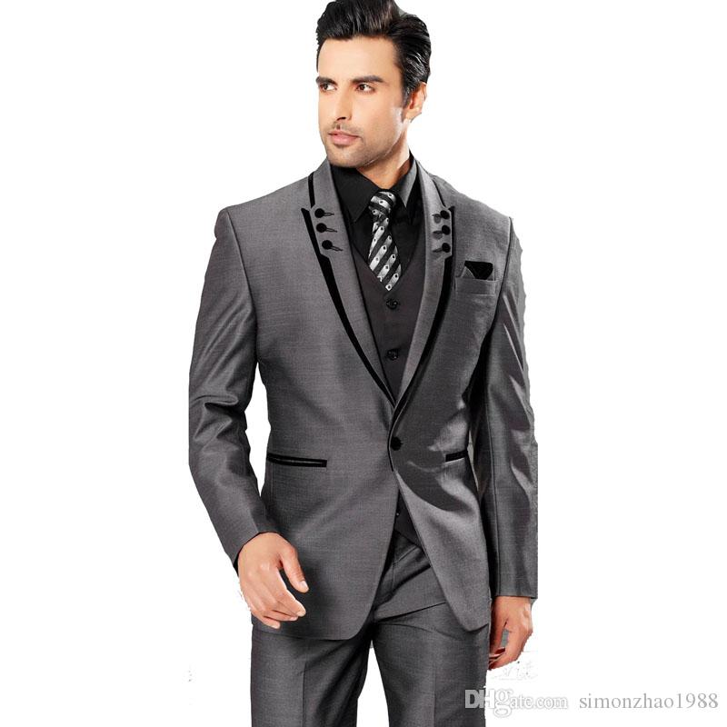 Best Selling 2018 Gray Mens Suit Peaked Lapel One Button Groom Tuxedos Formal Wedding Dress Men Wedding Suits Prom Suits Jacket+Pants+Vest